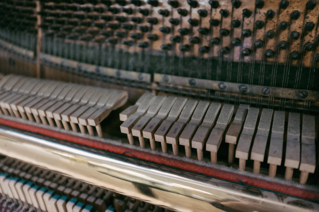 Inside of an Upright piano